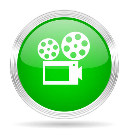 green button: movie green modern design web glossy icon