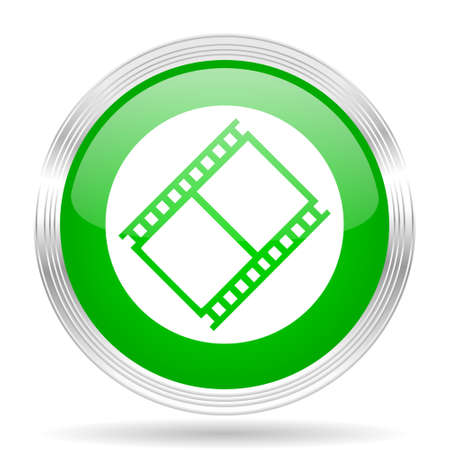 watch movement: film green modern design web glossy icon Stock Photo