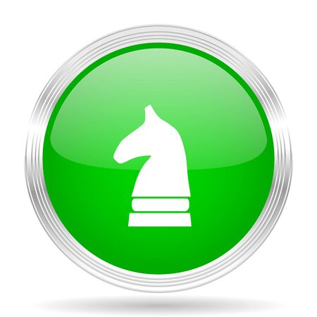 chess horse: chess horse green modern design web glossy icon Stock Photo