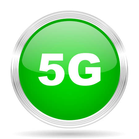 5g: 5g green modern design web glossy icon Stock Photo