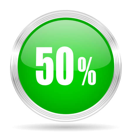 50: 50 percent green modern design web glossy icon