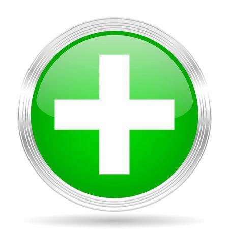 green plus: plus green modern design web glossy icon