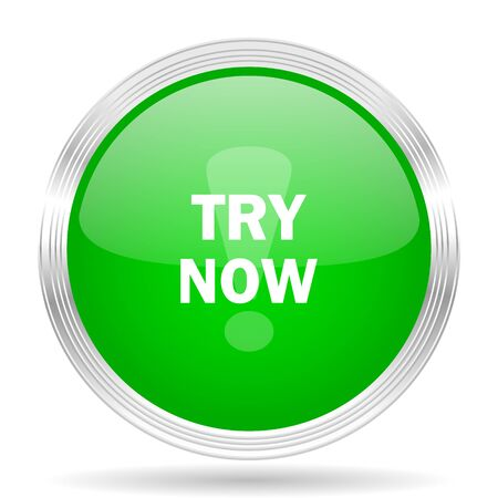 test probe: try now green modern design web glossy icon Stock Photo