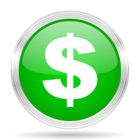 signos de pesos: dólar de diseño moderno Web icono verde brillante