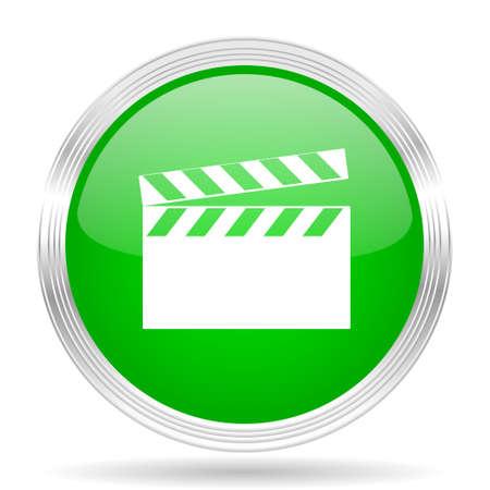 clapperboard: Clapperboard green modern design web glossy icon