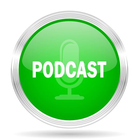 podcast: podcast green modern design web glossy icon