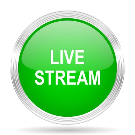 live stream radio: live stream green modern design web glossy icon