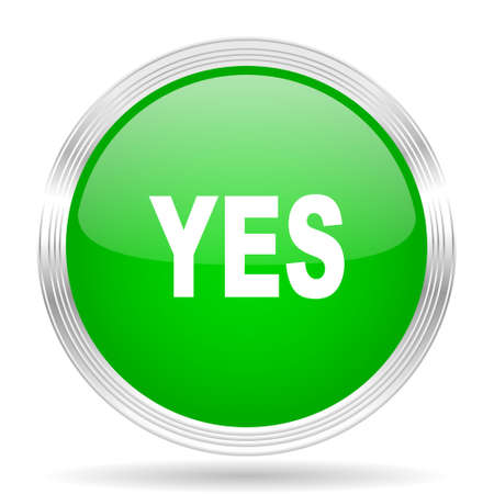 yea: yes green modern design web glossy icon