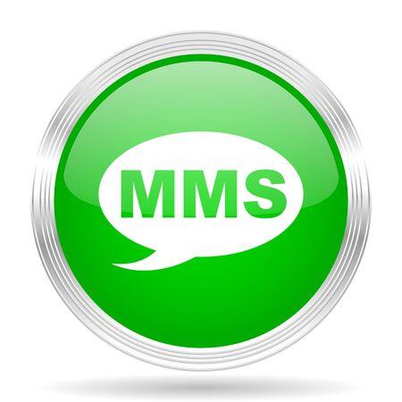 mms icon: mms green modern design web glossy icon Stock Photo