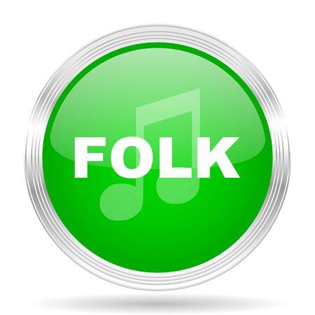 folk music: folk music green modern design web glossy icon Stock Photo