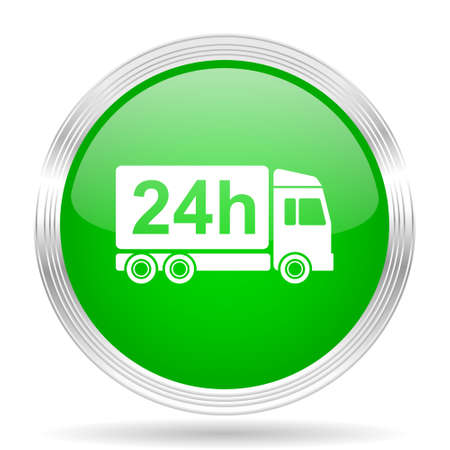 24h: delivery green modern design web glossy icon