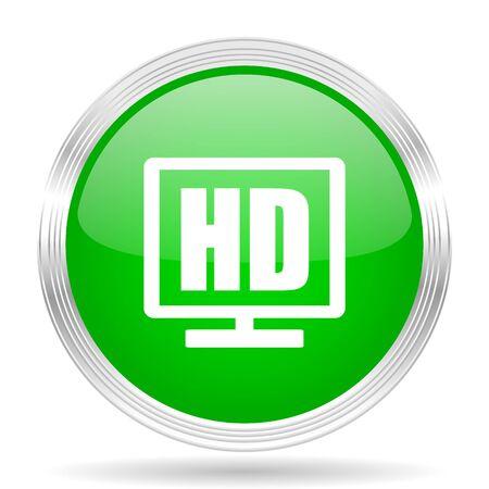 hd: hd display green modern design web glossy icon Stock Photo