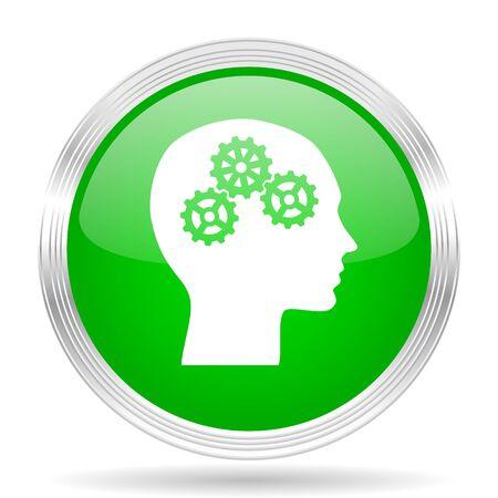 brainy: head green modern design web glossy icon