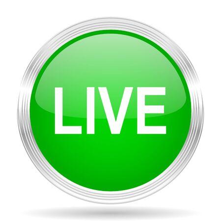 live stream movie: live green modern design web glossy icon Stock Photo