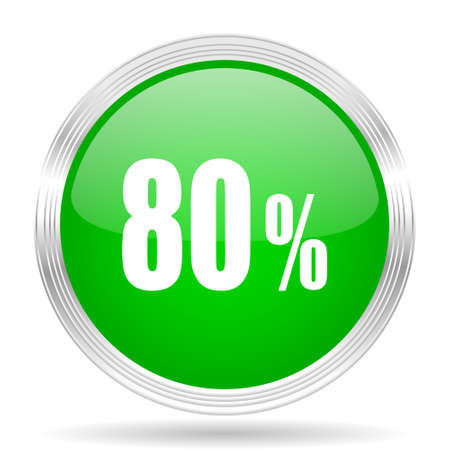 80: 80 percent green modern design web glossy icon Stock Photo
