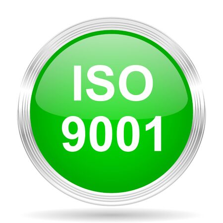 norm: iso 9001 green modern design web glossy icon Stock Photo