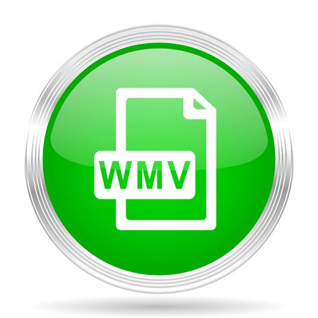 wmv: wmv file green modern design web glossy icon Stock Photo