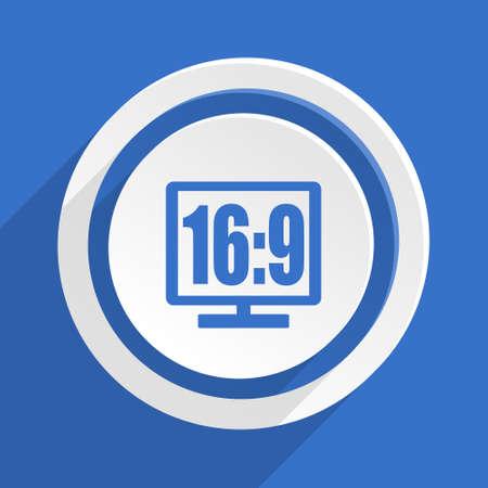 16 9 display: 16 9 display blue flat design modern icon
