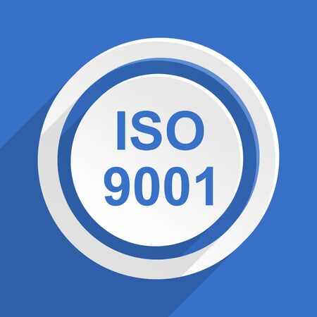 norm: iso 9001 blue flat design modern icon Stock Photo