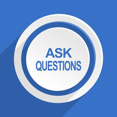 questions: ask questions blue flat design modern icon