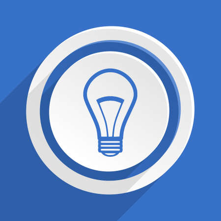 lighting button: bulb blue flat design modern icon Stock Photo