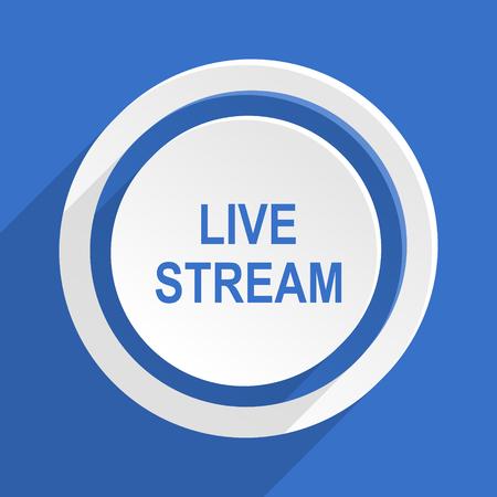 live stream movie: live stream blue flat design modern icon