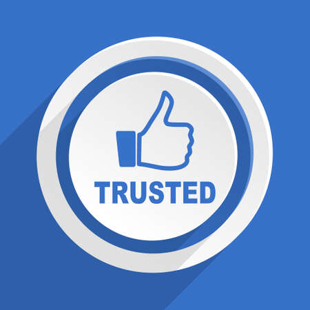 trusted: trusted blue flat design modern icon