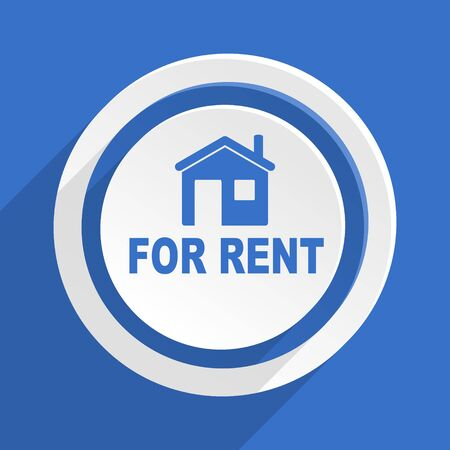 rent: for rent blue flat design modern icon