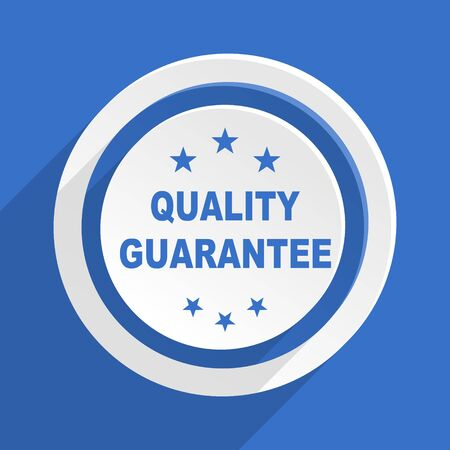 quality guarantee: quality guarantee blue flat design modern icon Stock Photo