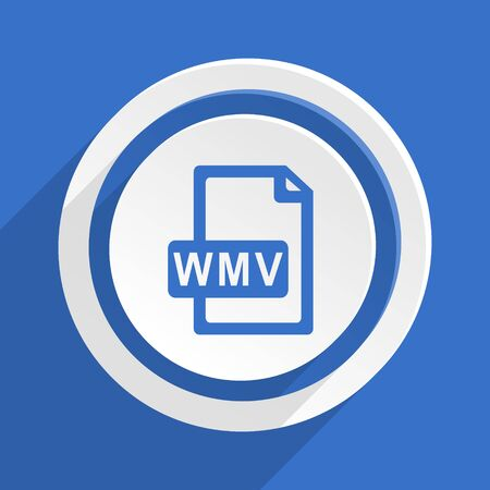 wmv: wmv file blue flat design modern icon
