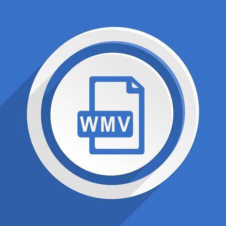 wmv: wmv file blue flat design modern icon