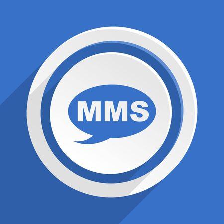 mms: mms blue flat design modern icon