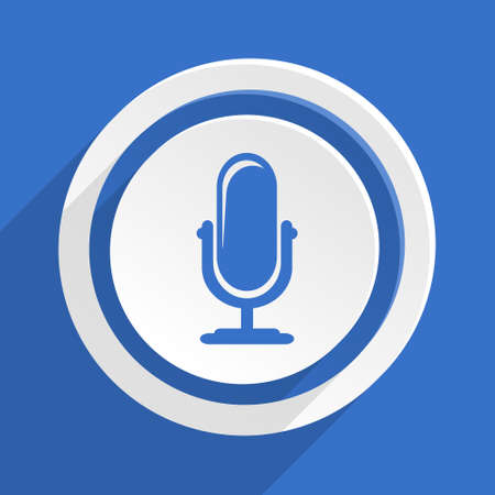 podcasting: microphone blue flat design modern icon