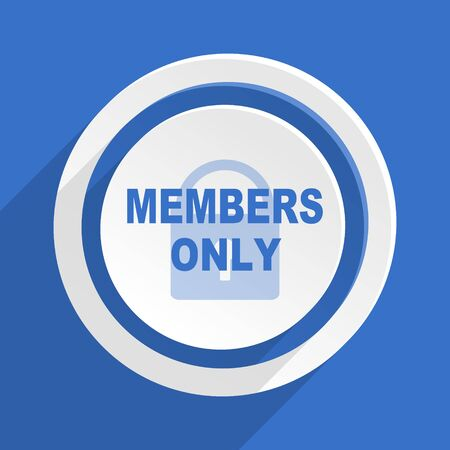 members only: members only blue flat design modern icon