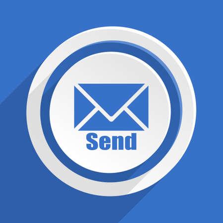 blue send: send blue flat design modern icon