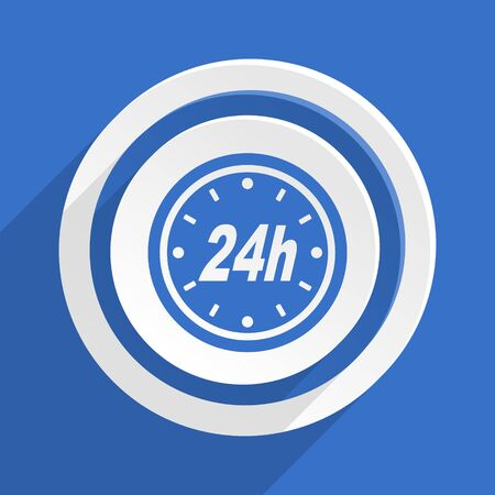24h: 24h blue flat design modern icon