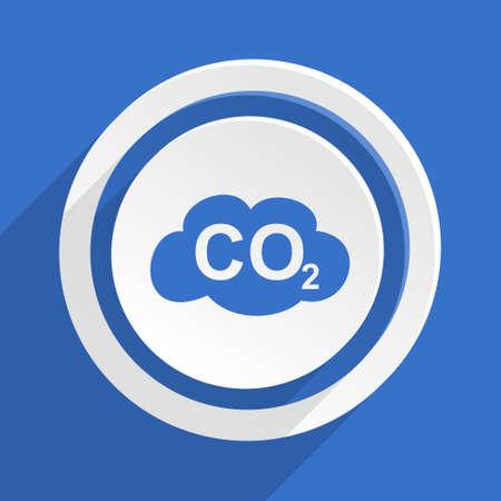 dioxide: carbon dioxide blue flat design modern icon