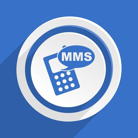 mms icon: mms blue flat design modern icon