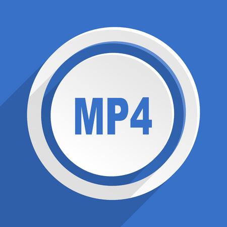 mp4: mp4 blue flat design modern icon