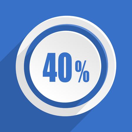 40: 40 percent blue flat design modern icon