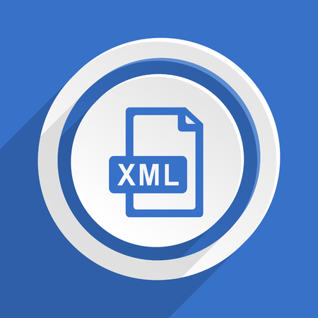 xml: xml file blue flat design modern icon