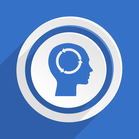 brainy: head blue flat design modern icon Stock Photo
