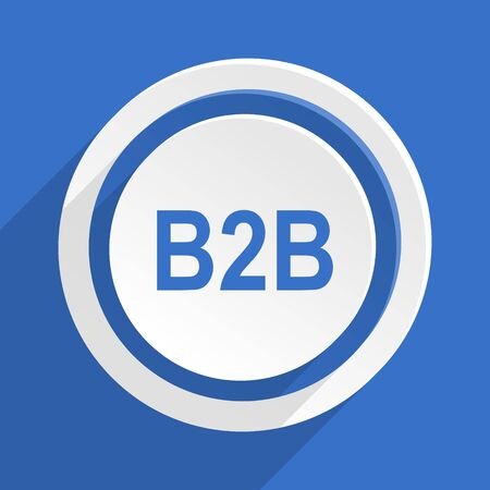 b2b: diseño plano azul b2b moderna icono
