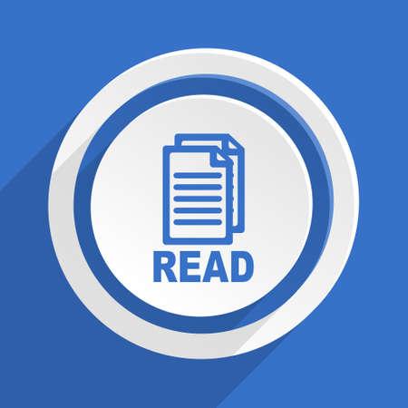 reading app: read blue flat design modern icon