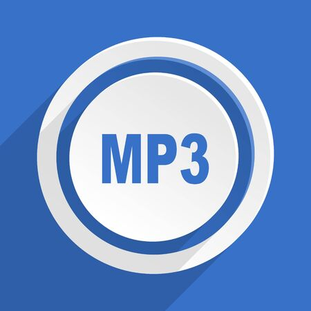 mp3: mp3 blue flat design modern icon Stock Photo