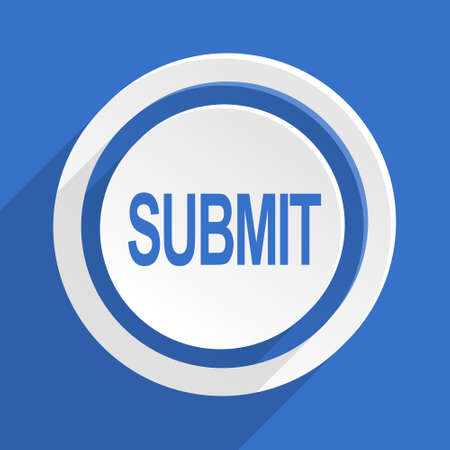 submitting: submit blue flat design modern icon Stock Photo