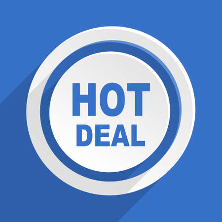 offer icon: hot deal blue flat design modern icon