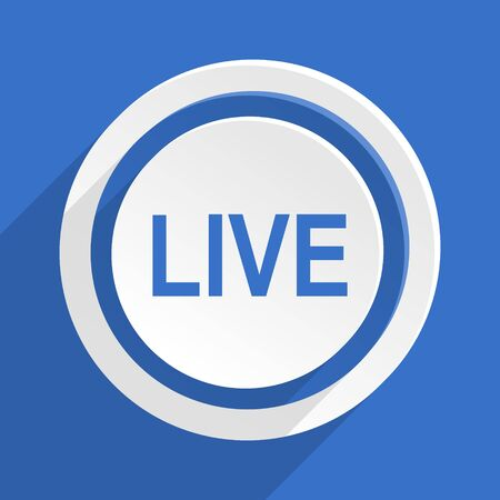 live stream radio: live blue flat design modern icon