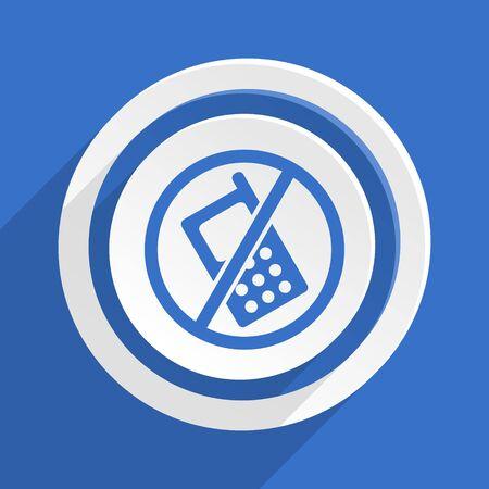 phone ban: no phone blue flat design modern icon