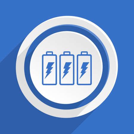 button batteries: battery blue flat design modern icon